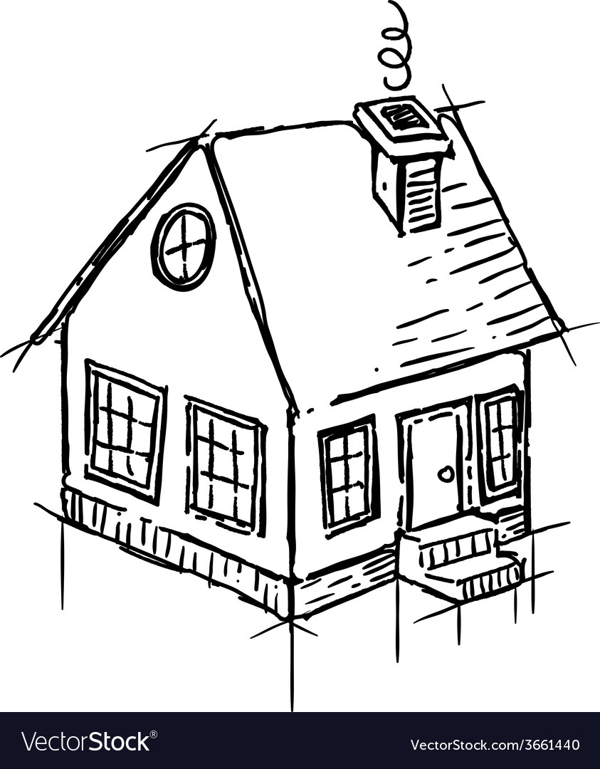 Black And White Sketch Of Small House Royalty Free Vector