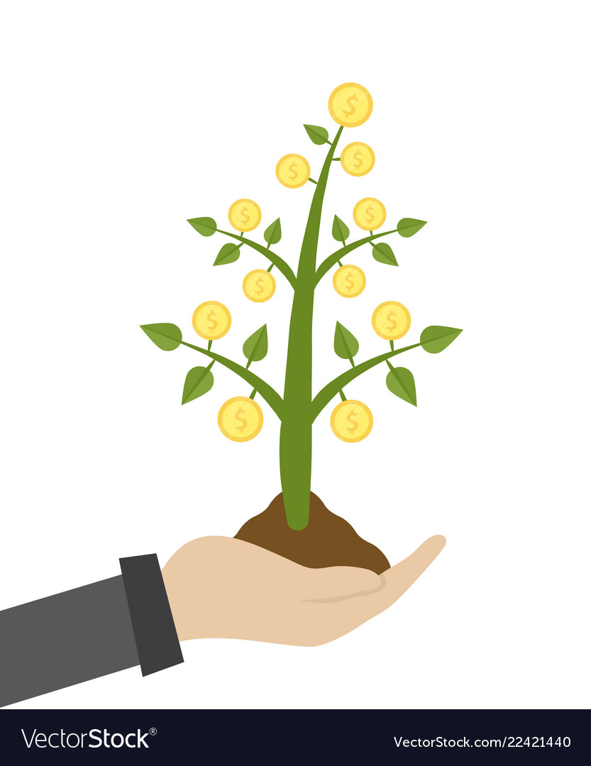 Businessman hold money tree vector