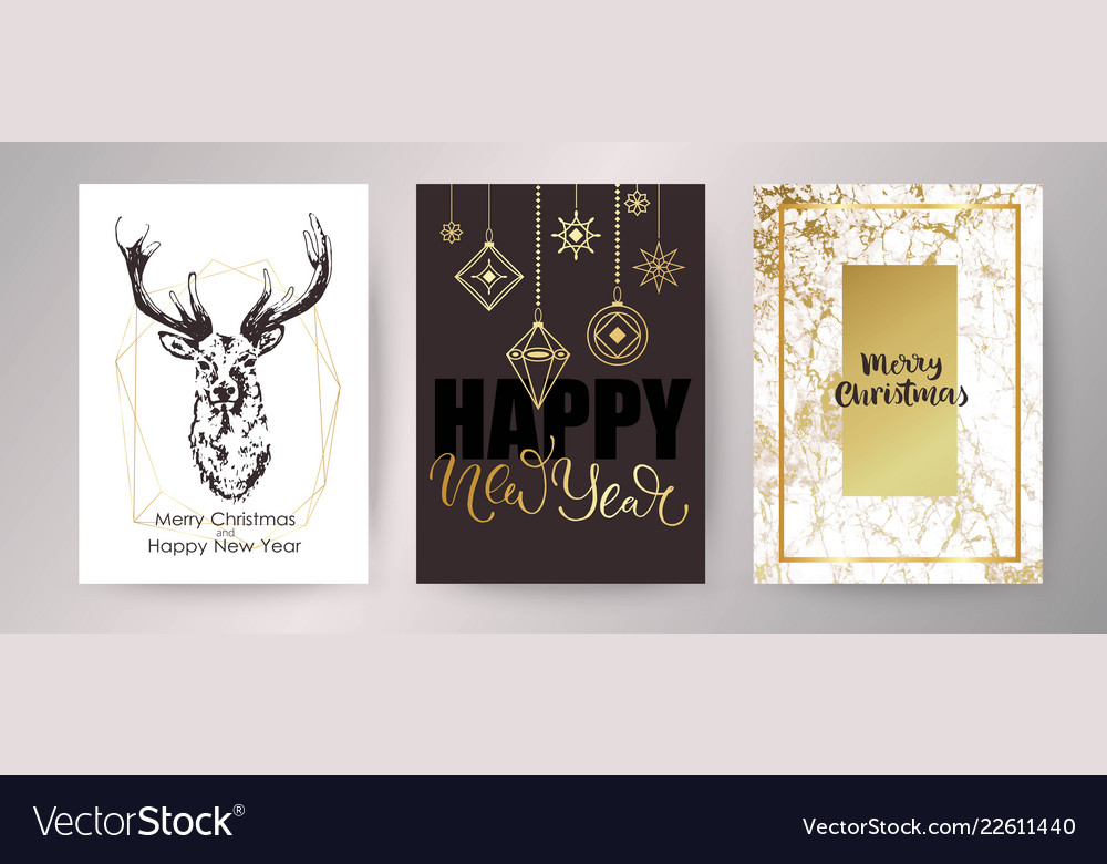 Christmas card happy new year invitation design