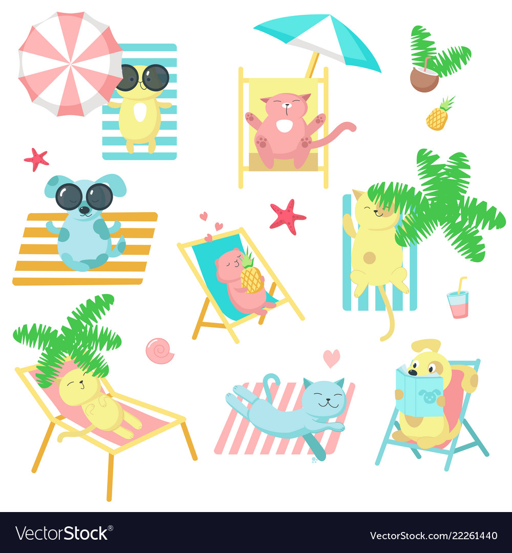 Cute pet animals taking rest on beach icons