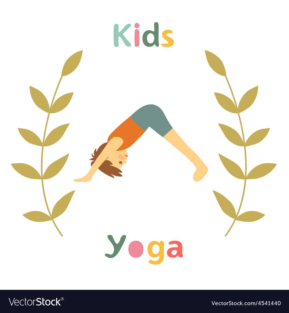 Cute yoga kids card with little boy doing yoga vector image