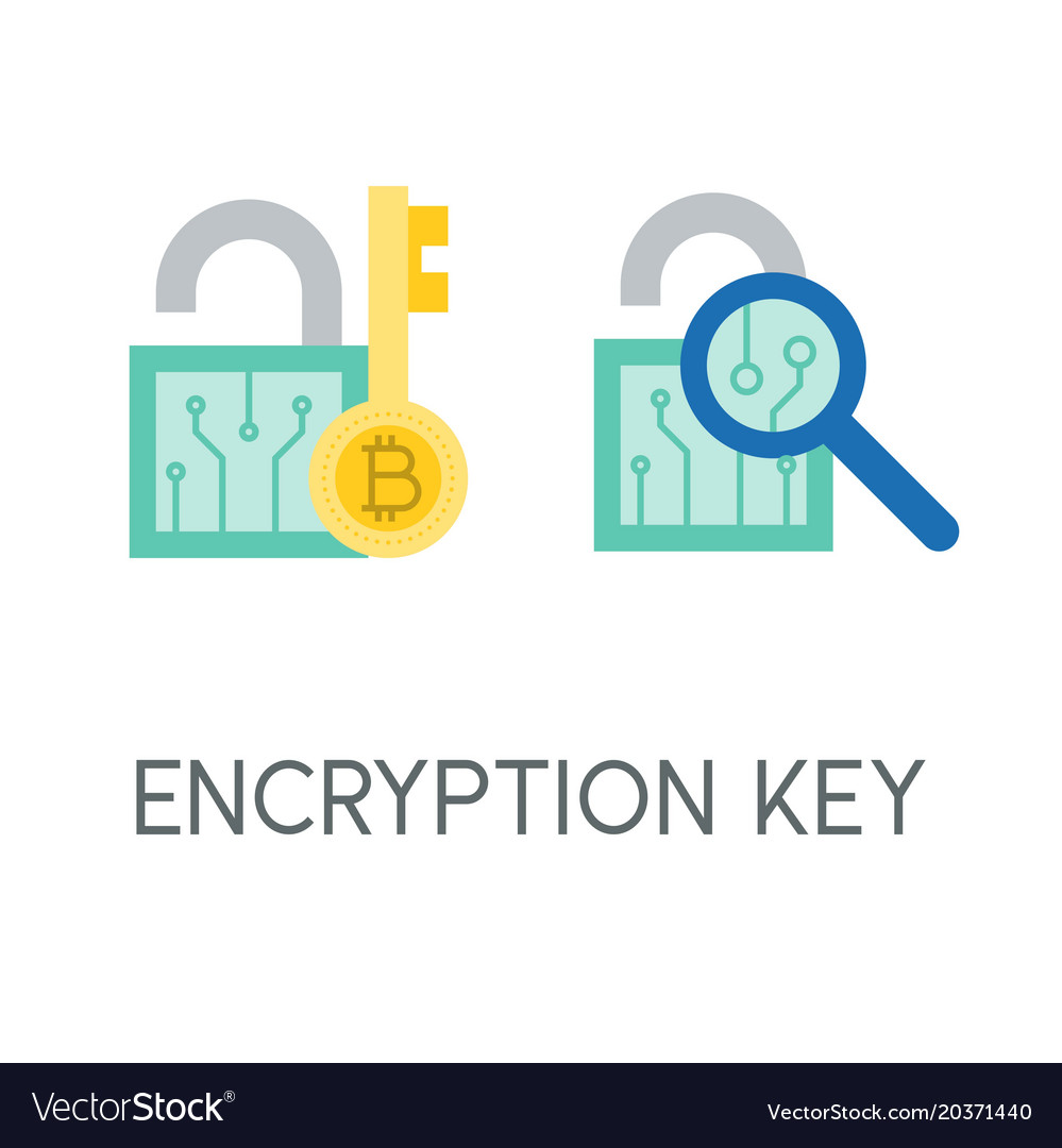 Encryption key cryptocurrency icon flat design vector image