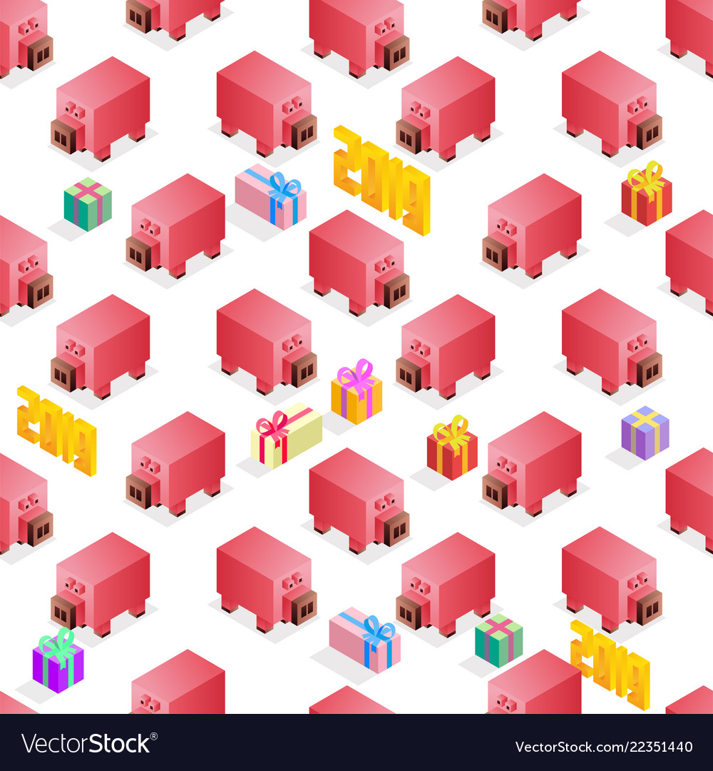 Happy new year 2019 isometric seamlesspattern with