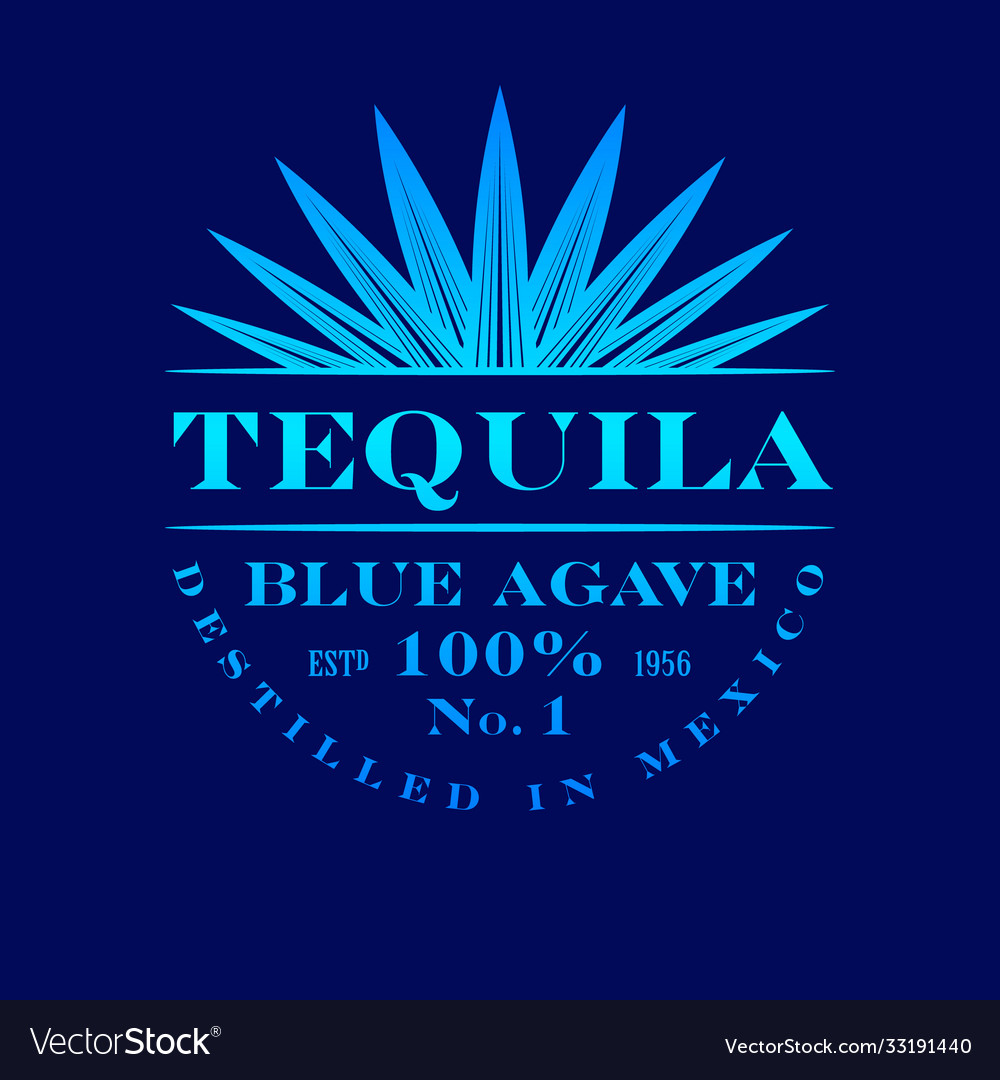Logo tequila blue agave label emblem mexican vector