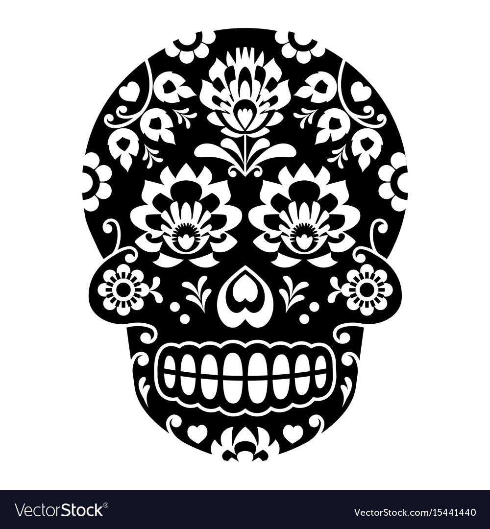 Mexican sugar skull halloween skull with flowers