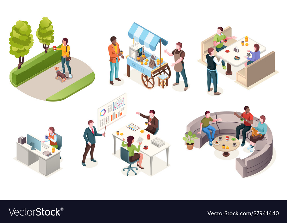 People drinking coffee isometric icons