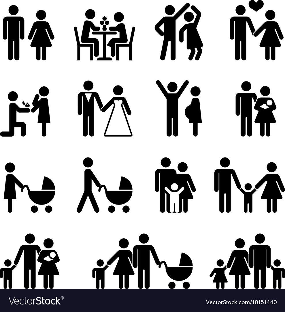 People family icon set Love and life