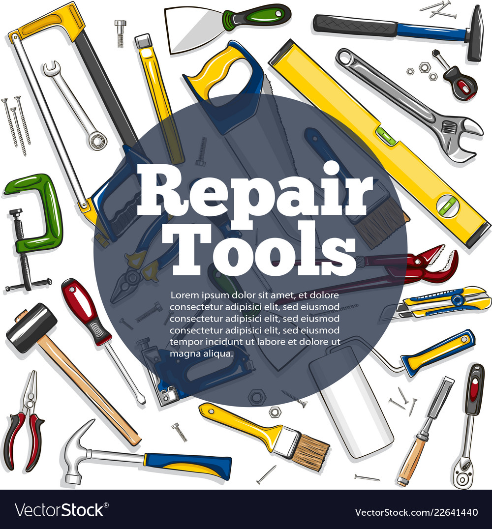 repair tools banner in hand drawn style royalty free vector  vectorstock