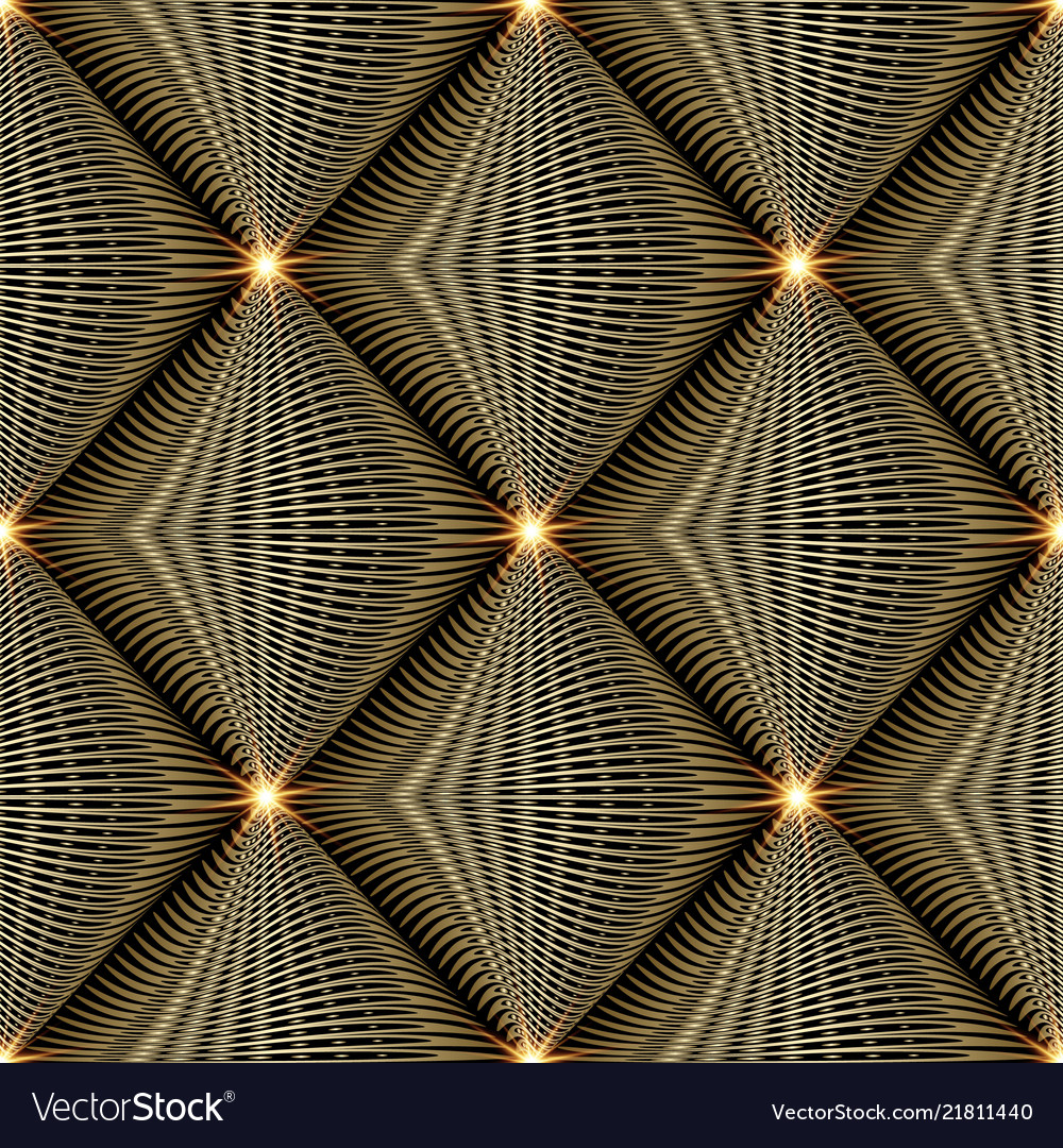 Shiny gold 3d modern seamless pattern abstract