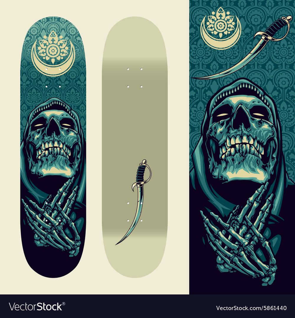 skull praying design on skateboard template vector image