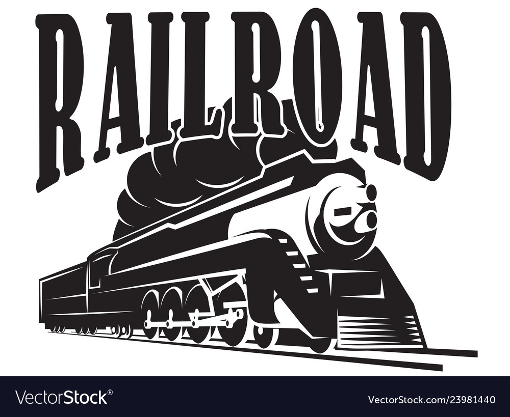 Template with a locomotive vintage train