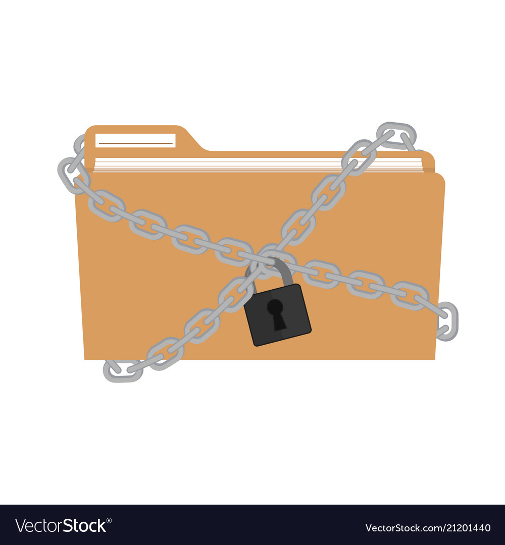 The metal chain and padlock folder file