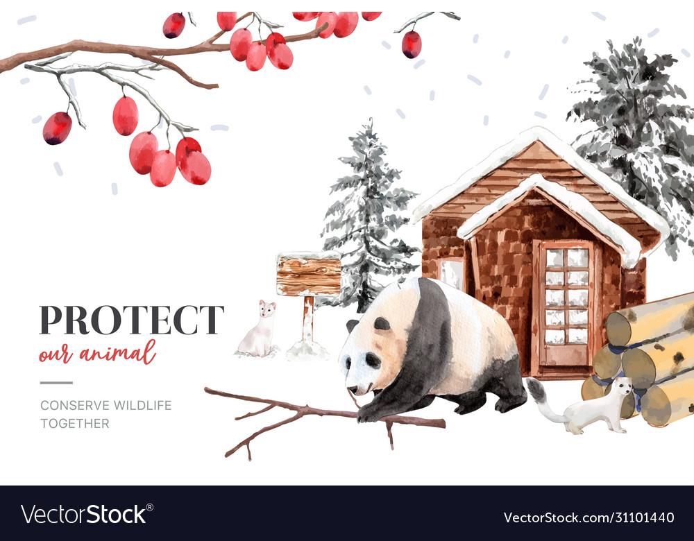 Winter animal frame design with ermine panda