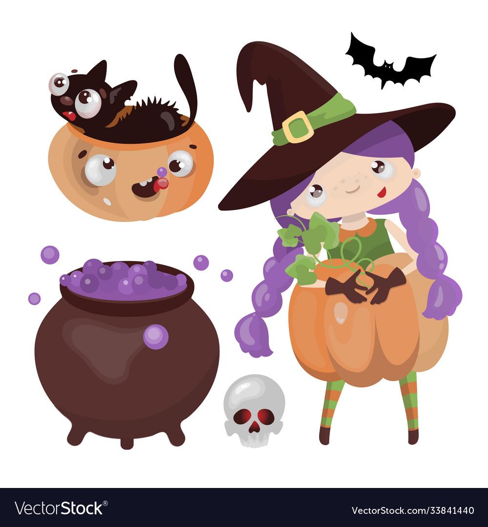 Witch halloween hand drawn cartoon