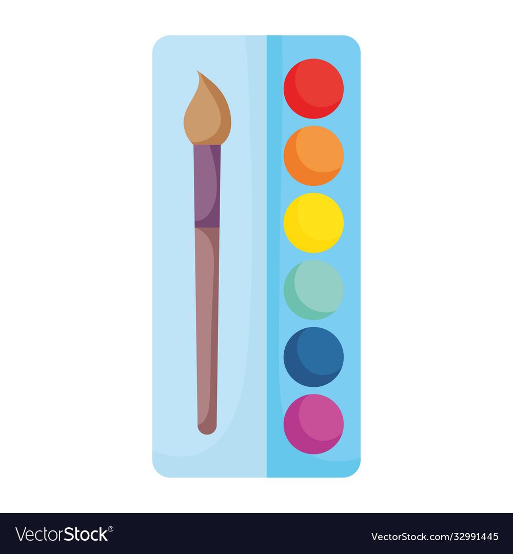 Back to school watercolor palette paint brush