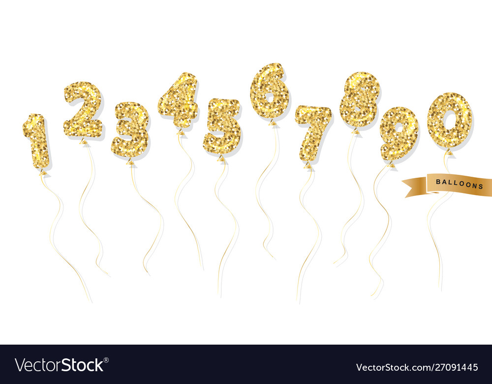 Balloon gold glitter numbers set