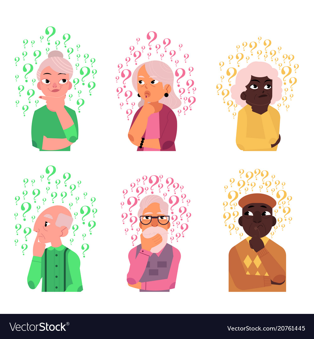 Cartoon old people qestions thinking set