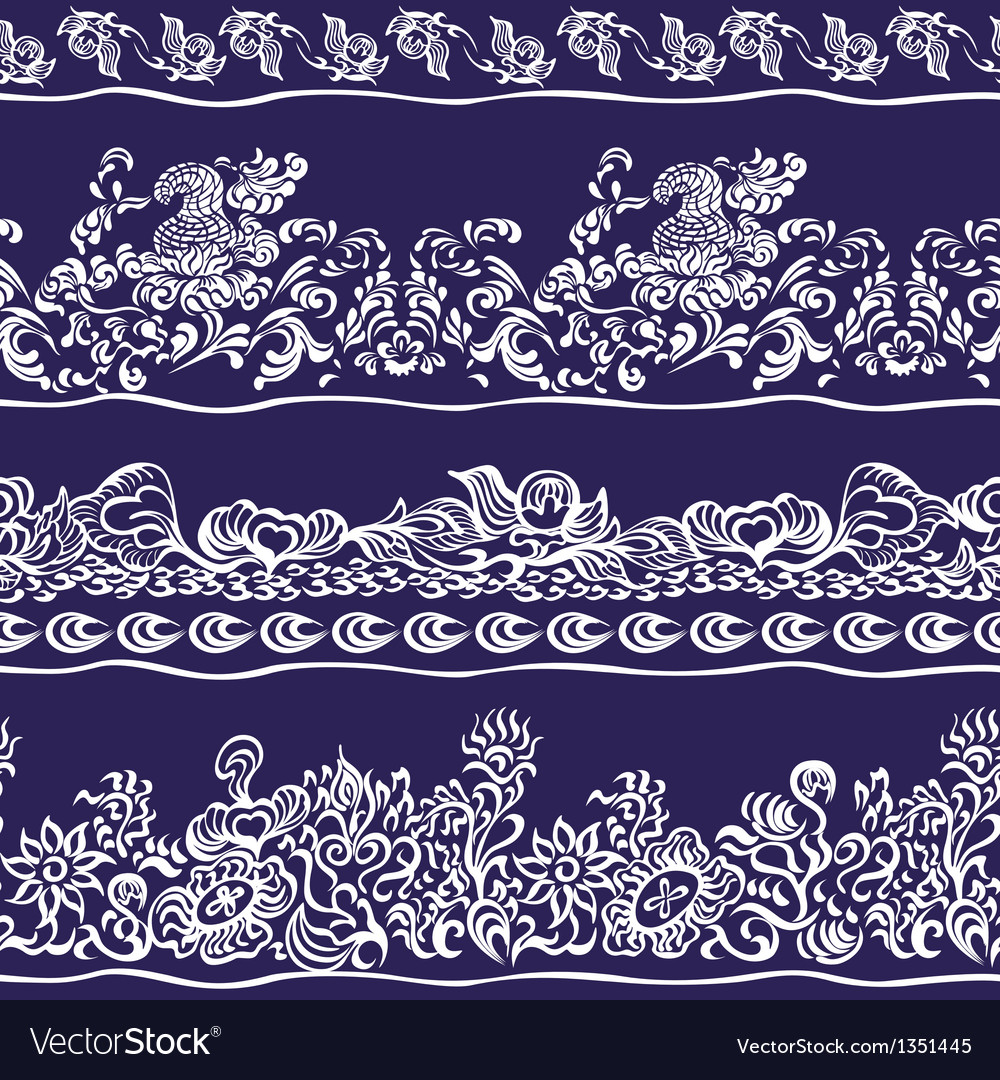Design border webbing lace seamless pattern