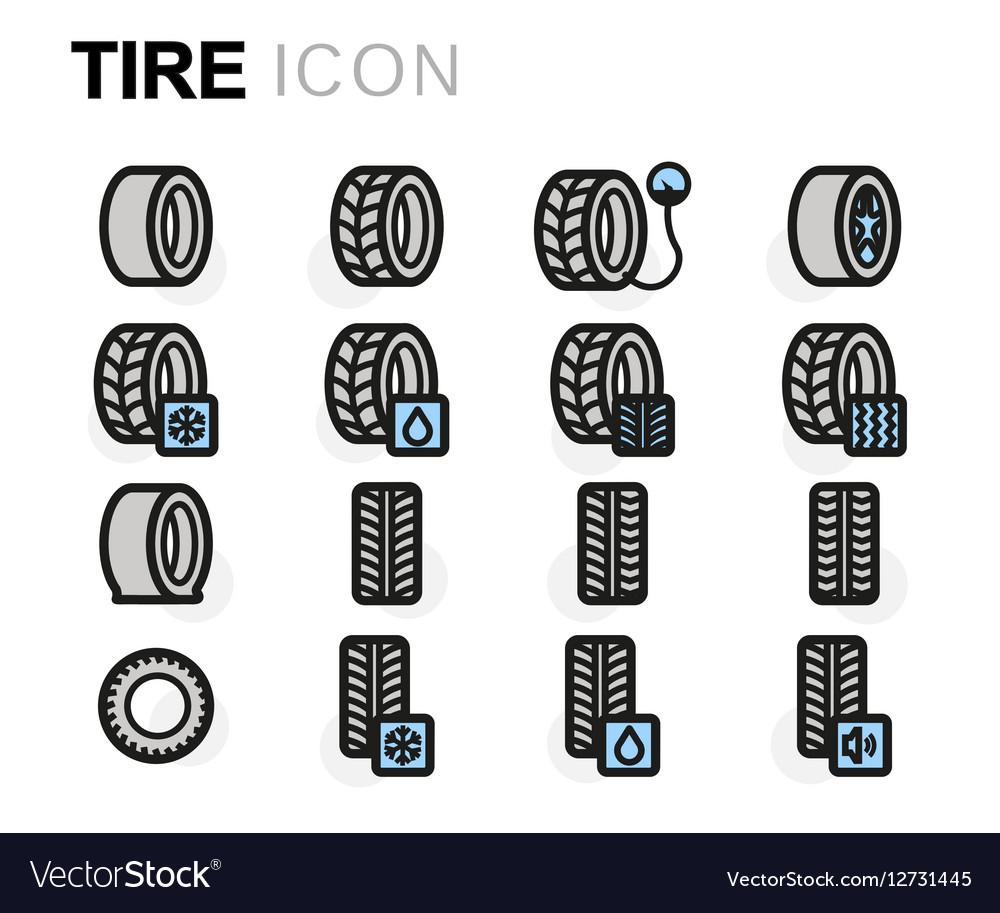 Flat tire icons set