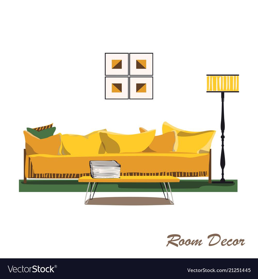 Interior design modern yellow living room trendy