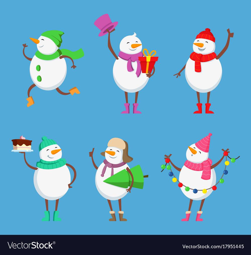 Mascot design of funny snowmen xmas