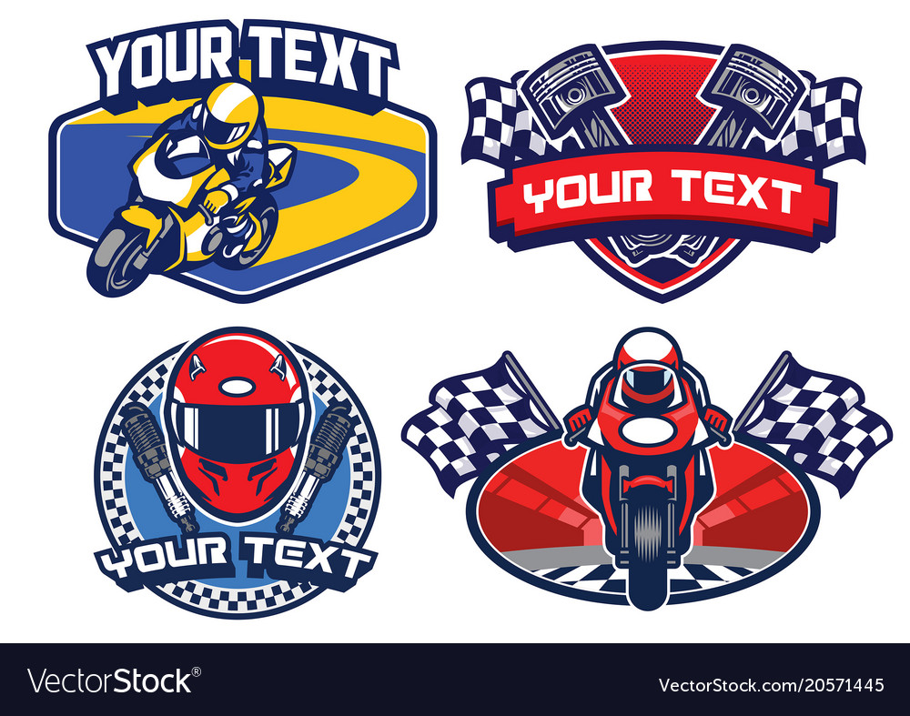 Motorcycle racing badge design set