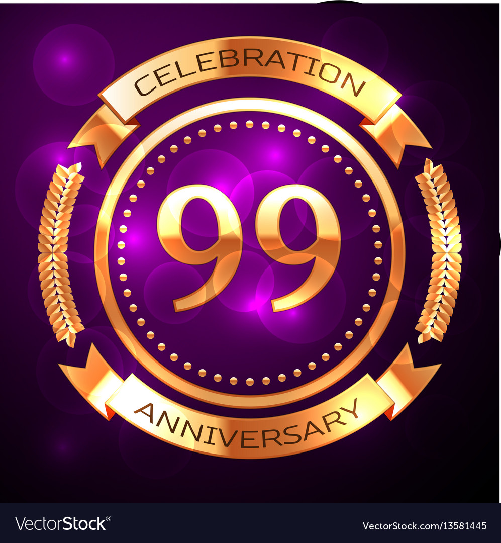 Ninety nine years anniversary celebration with vector image