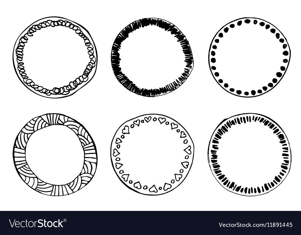 Simple hand drawn doodle circle template