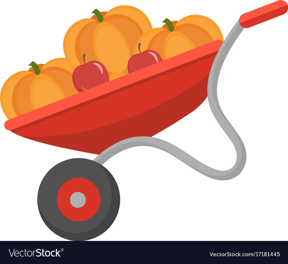 Wheelbarrow with pumpkins icon flat style