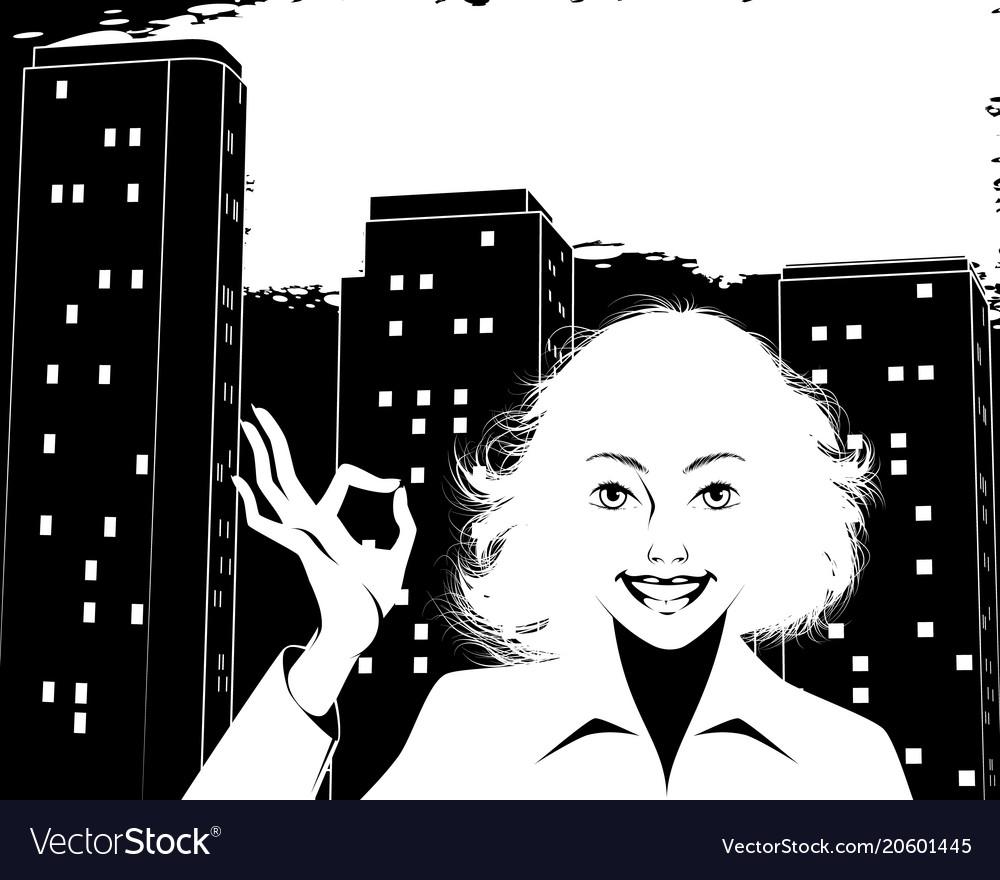 Woman showing okay gesture vector image