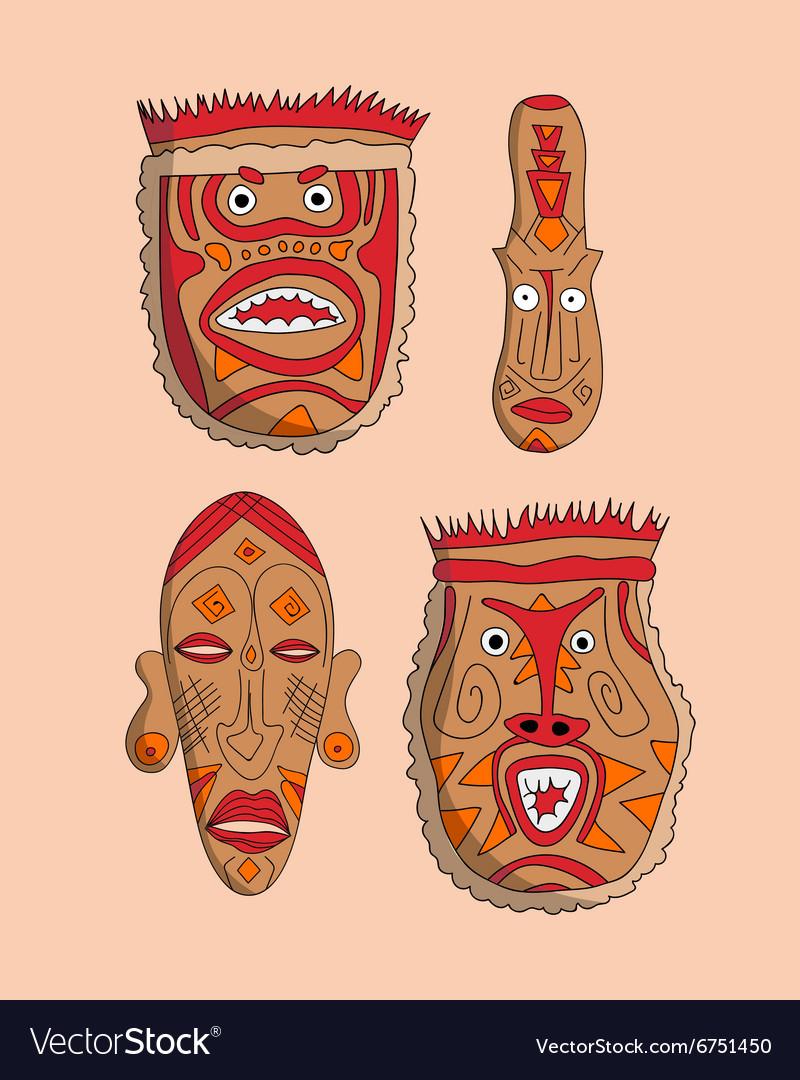 African masks set