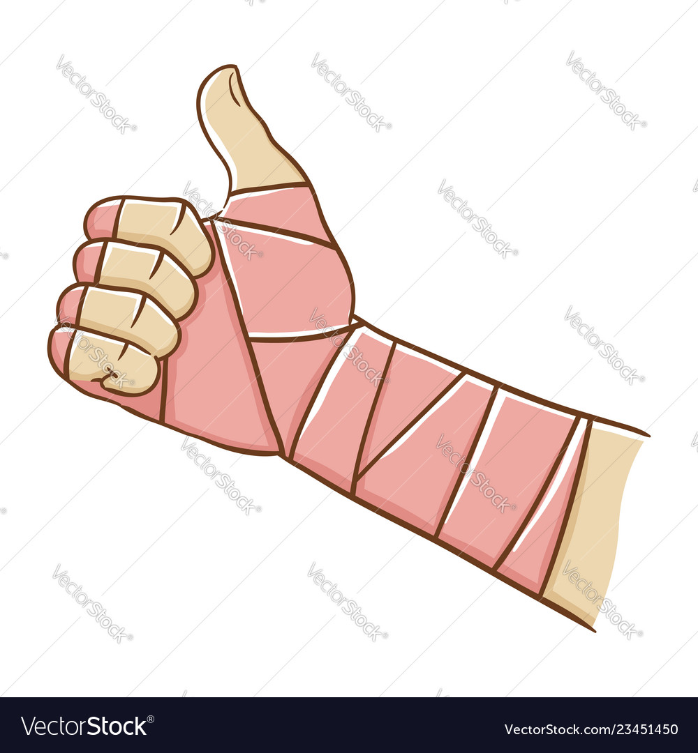 Broken Hand Wrapped In Elastic Bandage While Vector Image