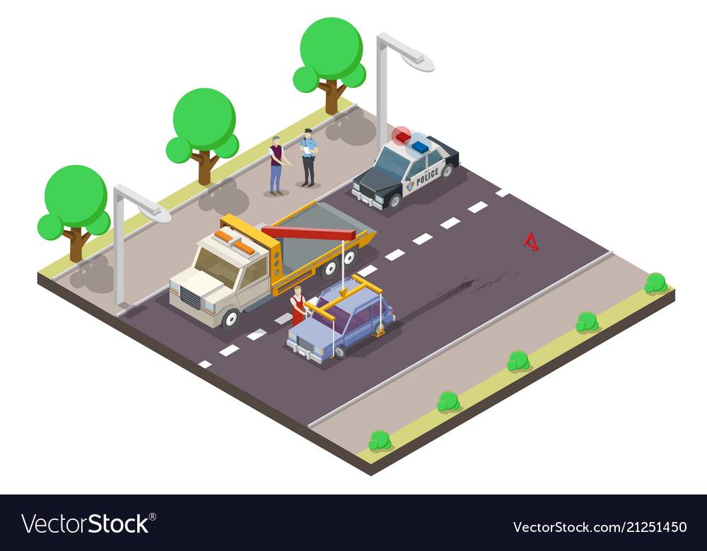 Car accident flat isometric