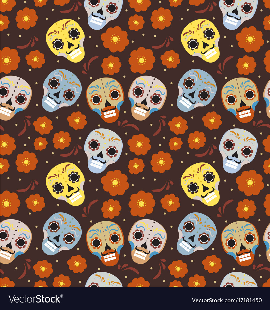 Day of the dead holiday in mexico seamless pattern