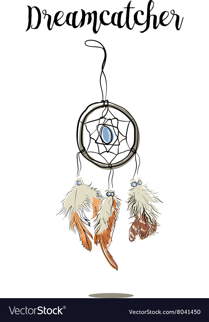 Hand-drawn with ink dreamcatcher with feathers