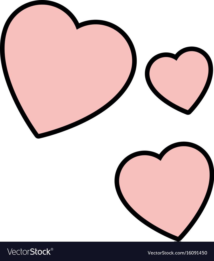 isolated three hearts royalty free vector image rh vectorstock com vector heart images vector hearts free