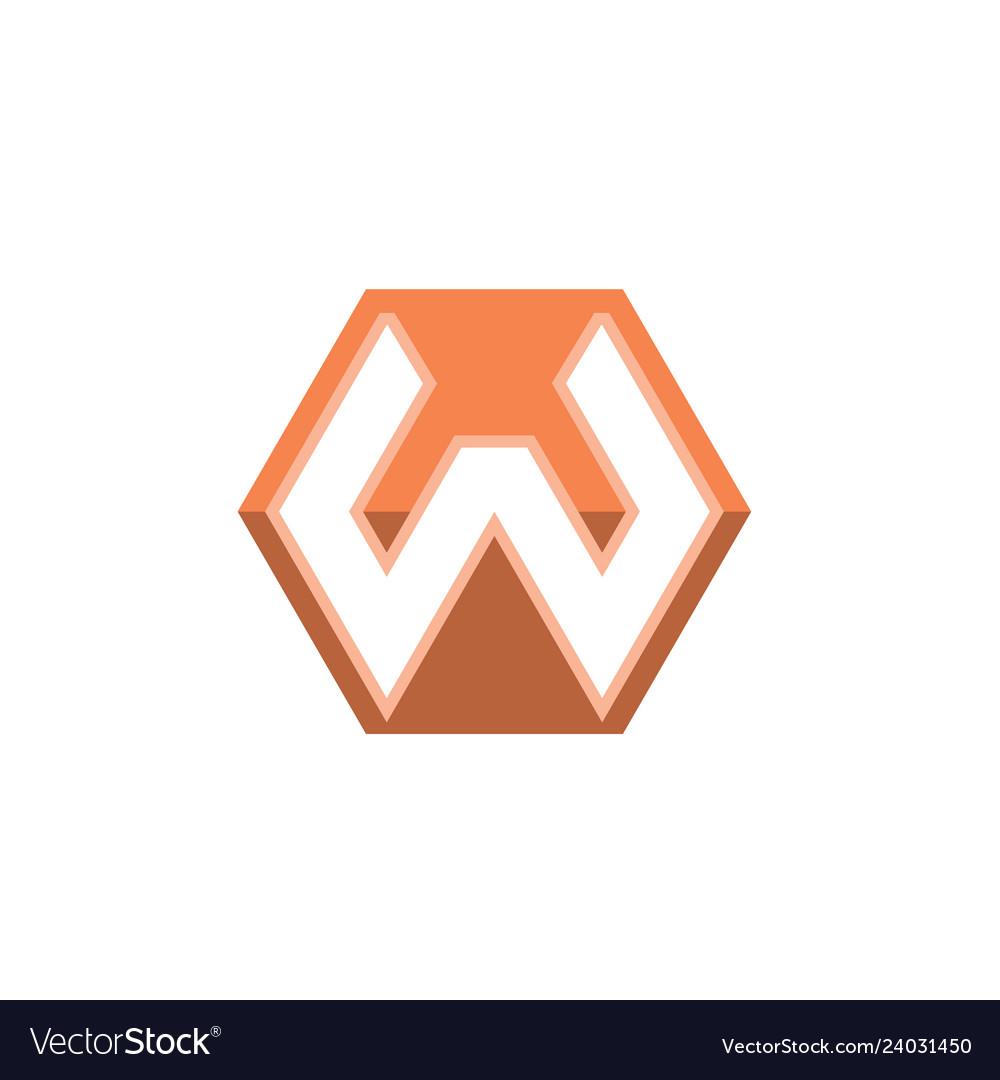 Letter w shape hexagon logo white background