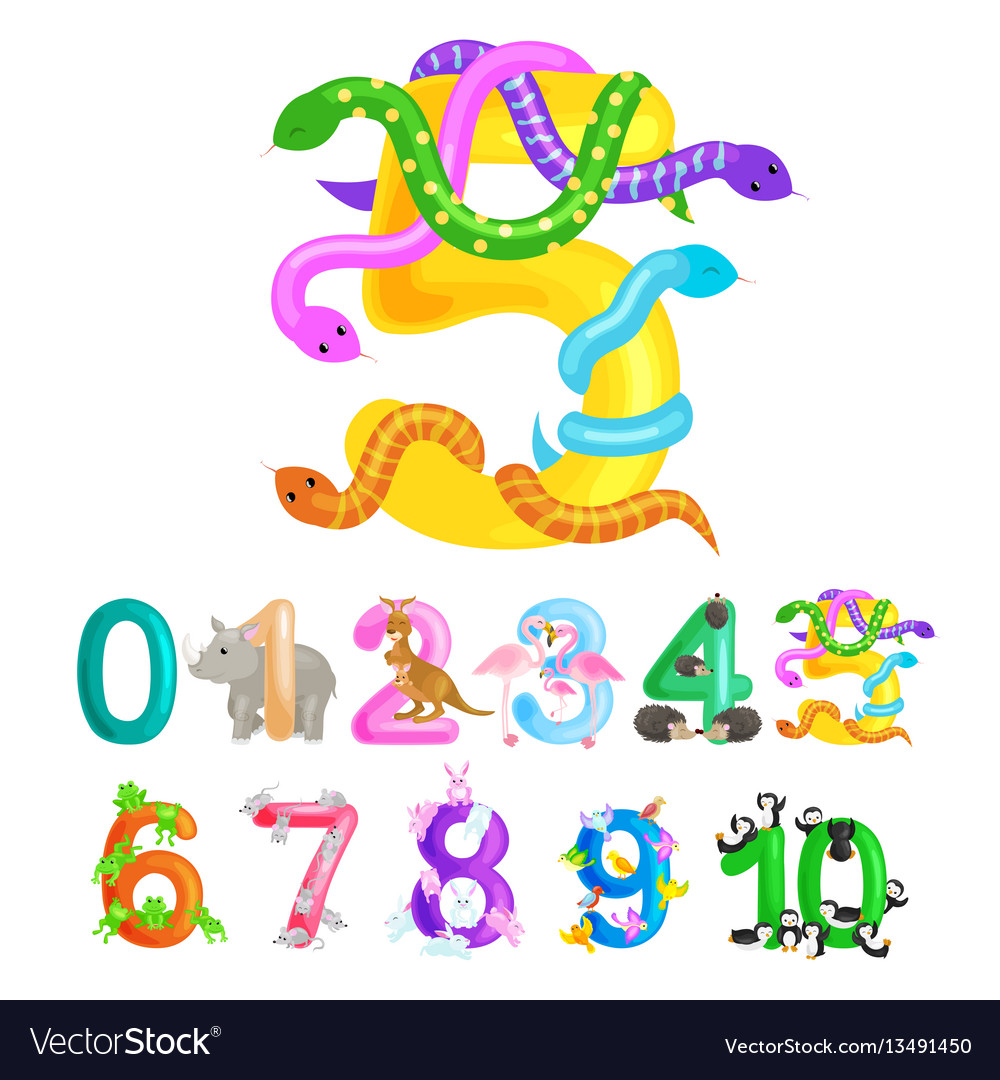 Ordinal number five for teaching children counting