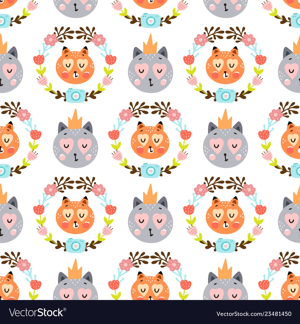 Seamless pattern with cute happy animals