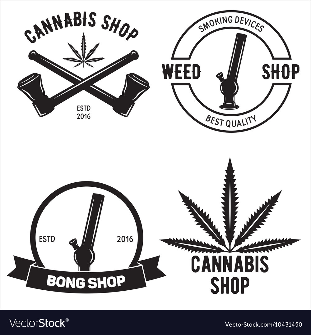 Set of medical marijuana logos Cannabis badges
