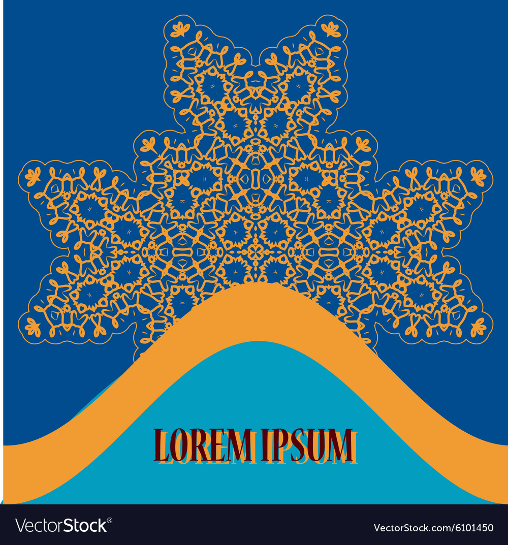 Stylized Oriental Print with Ornate Mandala for vector image