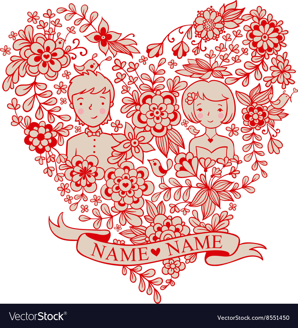 Wedding heart with flowers and birds