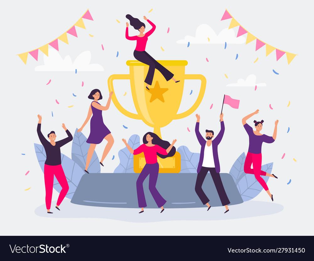 Winners team happy people win golden cup
