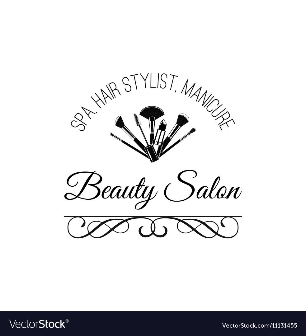 Beauty Salon Badge Makeup Brushes Logo