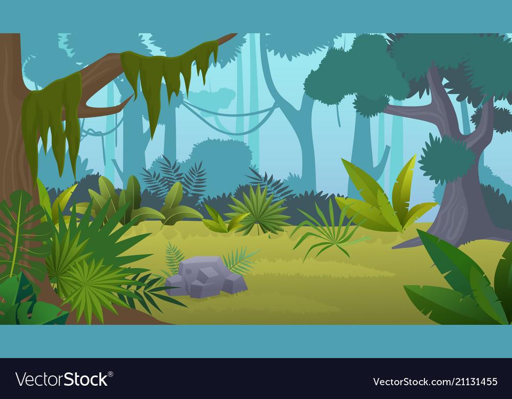Cartoon empty tropical rainforest jungle