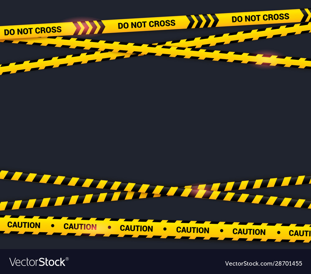Caution Tape On Black Background Do Not Cross Vector Image