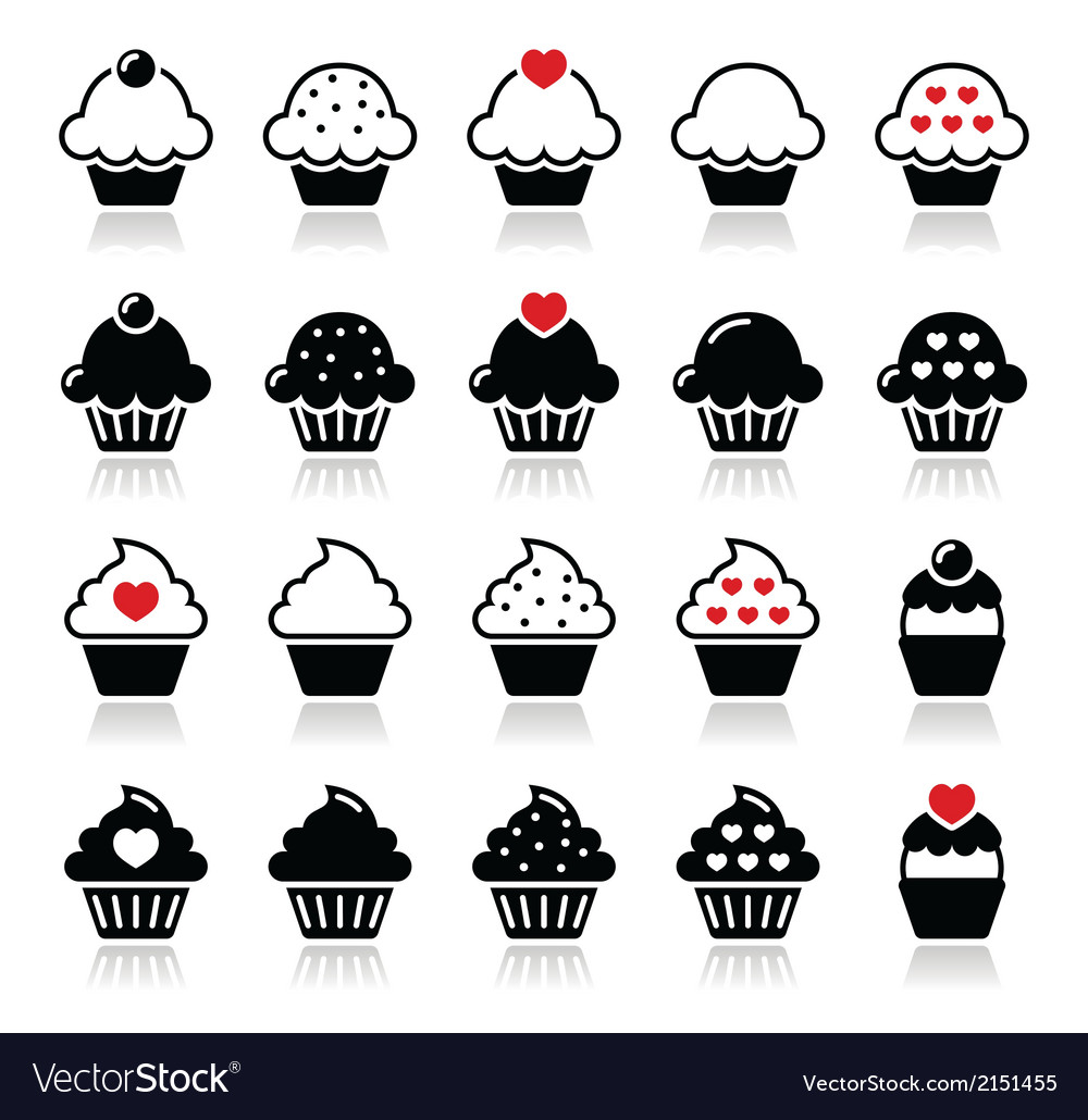 Cupcake with heart cherry and sparkles icons set