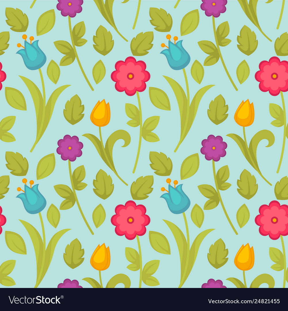 Easter holiday spring flowers tulips seamless