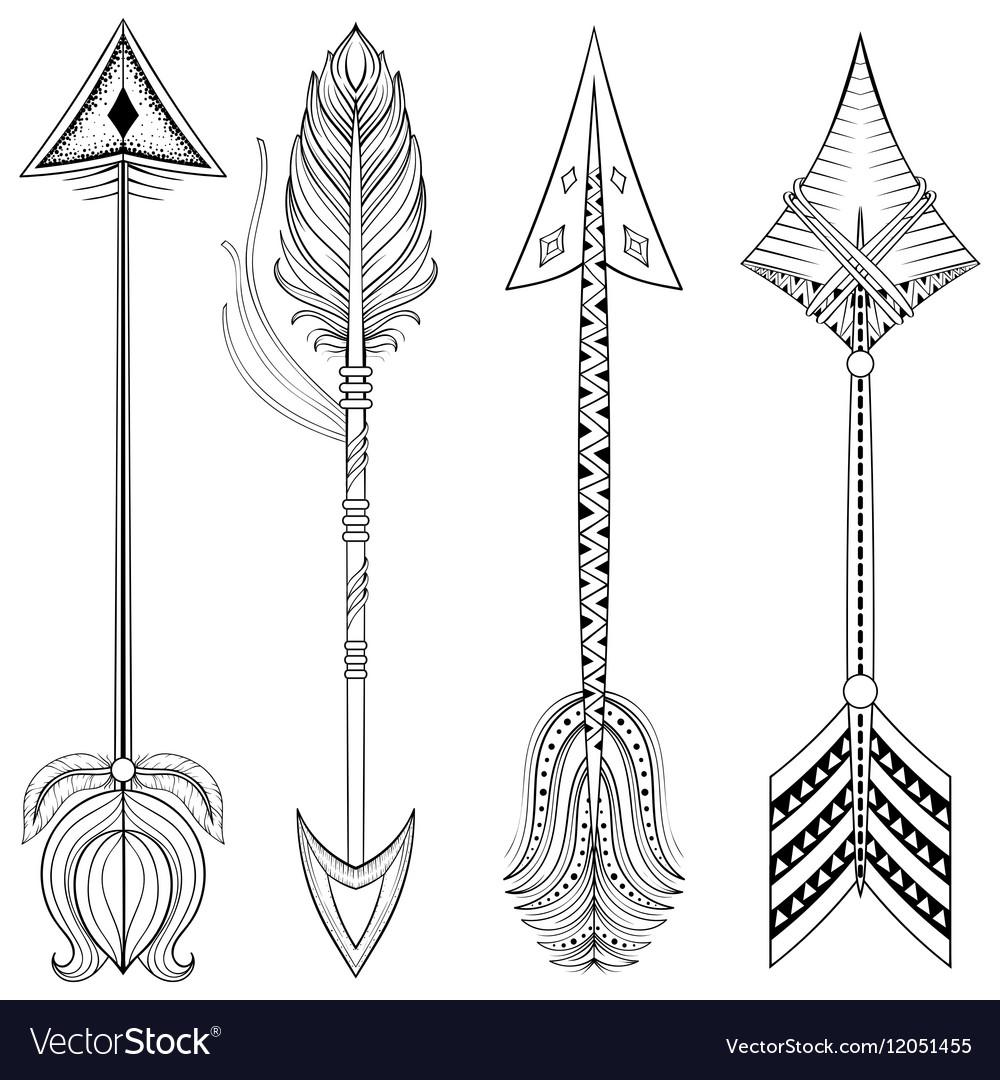 Ethnic Arrows in zentangle designconcept Hand