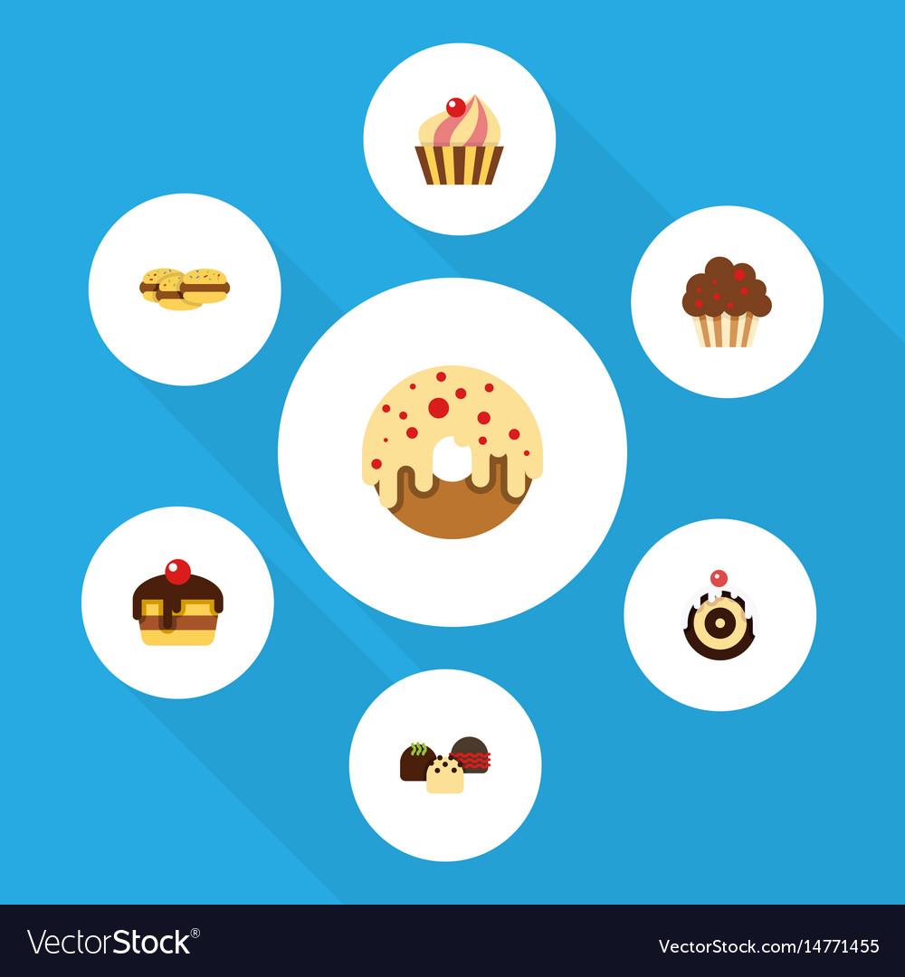 Flat cake set of dessert cake doughnut and other